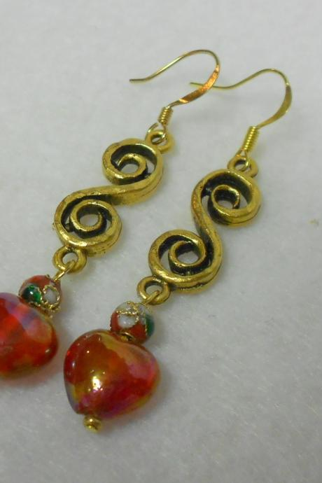 Valentine Red Heart Dangle Earrings