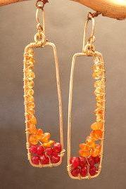 Bohemian 83 Orange Sapphire, Carnelian, and Ruby Earrings