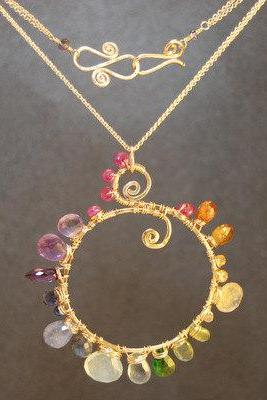 Necklace 242 Hammered necklace with multi gemstones
