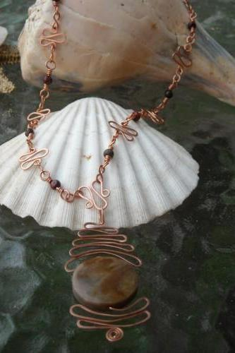 Copper wrapped Agate Pendant and necklace