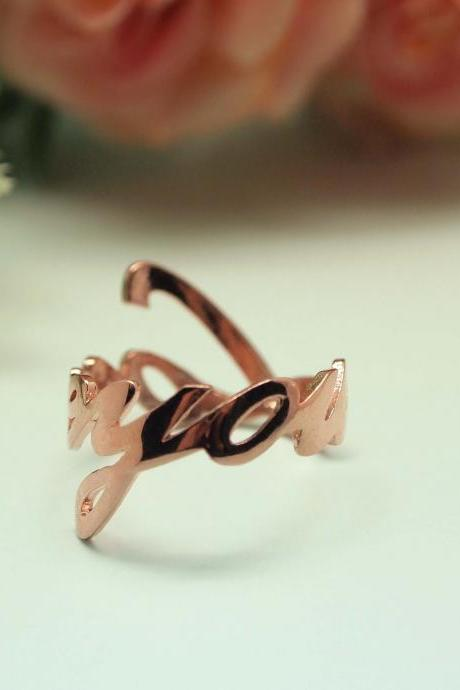 925 sterling silver LOVE YOU Ring in Rose Gold