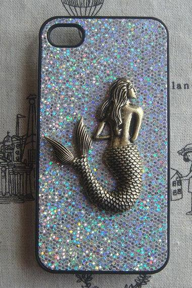 Steampunk Mermaid Silver bling glitter hard case For Apple iPhone 4 case iPhone 4s case cover