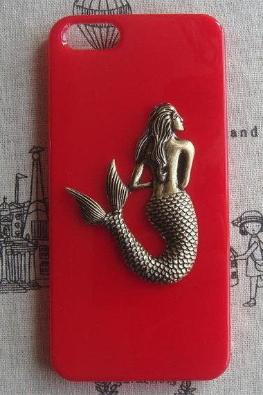 Steampunk Mermaid Red hard case For Apple iPhone 5 case cover