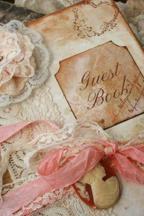 Custom Vintage style Guest book for wedding - vintage shabby chic - 60 pages