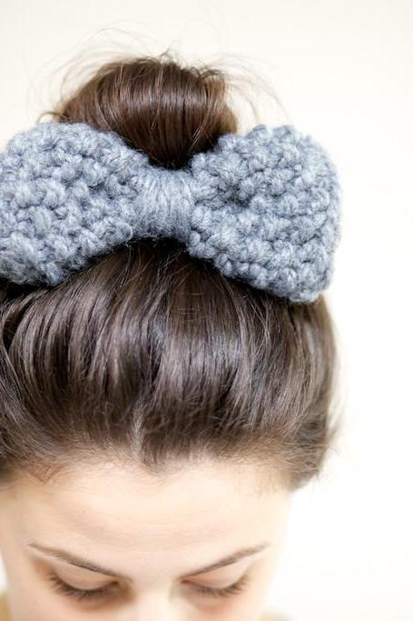 Hair Bow - Bow Hairband - Chunky Knit Bow Hairband - Slate Grey