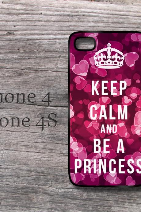 iPhone case Keep Calm and be a Princess love cute hearth hard case iPhone4 4S and new iPhone 5