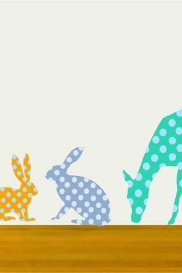 Polka Dot Deer and Rabbit Fabric Wall decal Set for Children