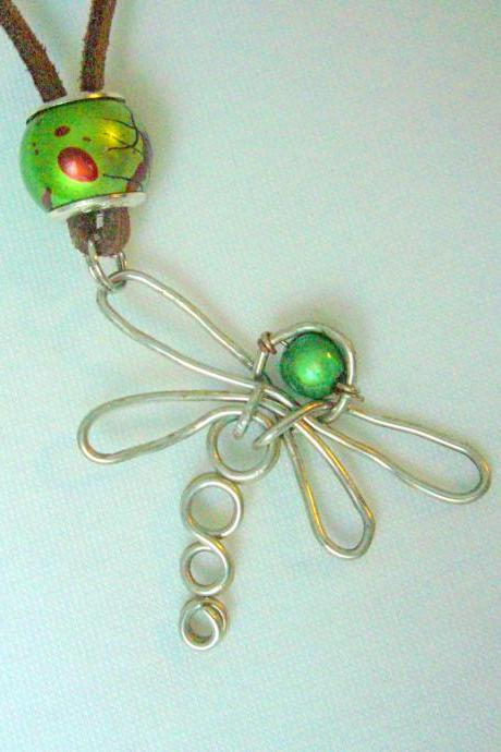 Dragonfly Pendant Necklace Wire Wrapped