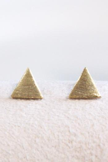 Tiny textured triangle earring