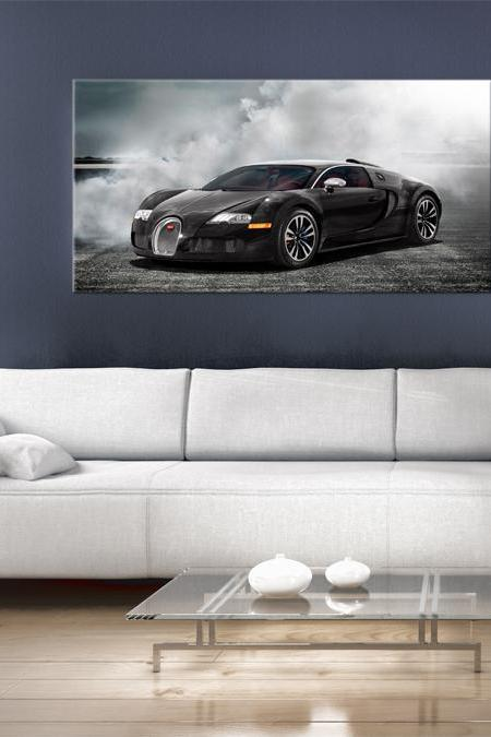 39x24 Digital printed Canvas super fast bugatti to your wall, exotic car at night on the road (size: 39x24 inch plus border).