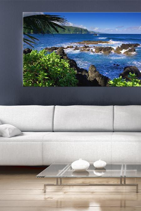16x10 Digital printed Canvas rocks in the see to your wall, rainforest sunshine beach holiday (size: 16x10 inch plus border).