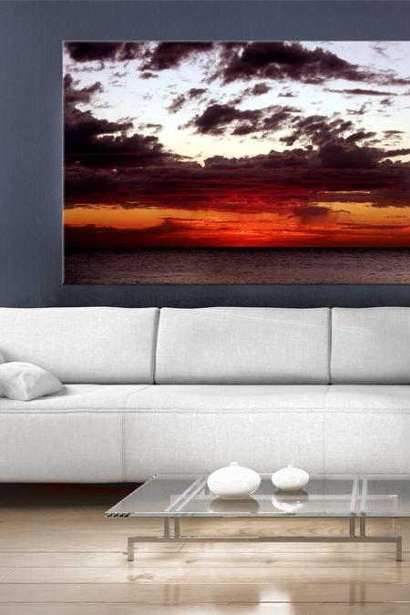16x10 Digital printed rustic Canvas sunset to your wall, colorful and interesting clouds, sky photo (size: 16x10 inch plus border).