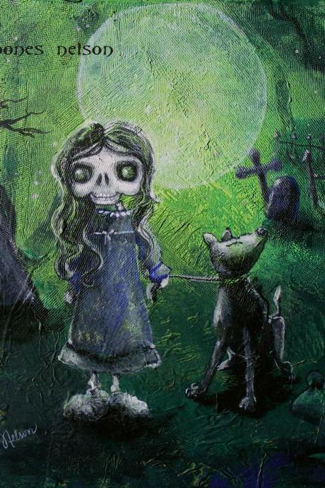 Gothic Art - Print from Original Painting - Creepy Big Eye Girl Walking Dog in Graveyard Poster
