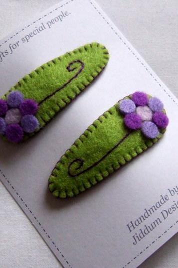 Green and Lilac Flower Baby Hair Clips