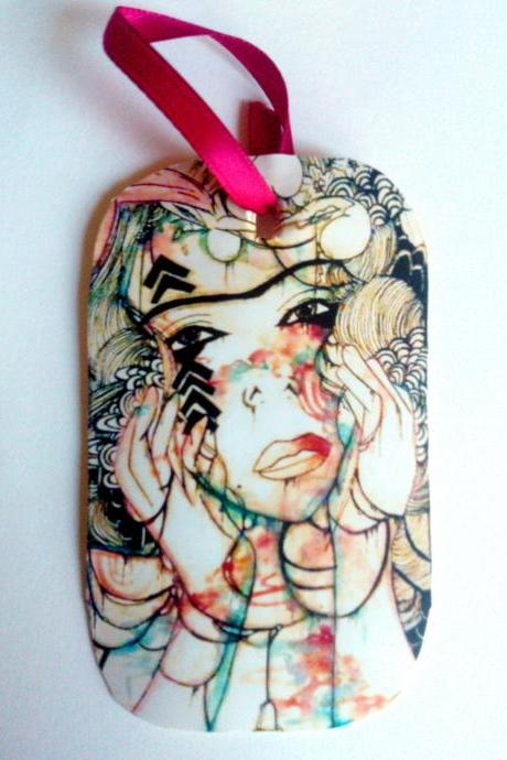 Art multi use art tag, of original bohemian style art print on rounded edge manila surface with red ribbon