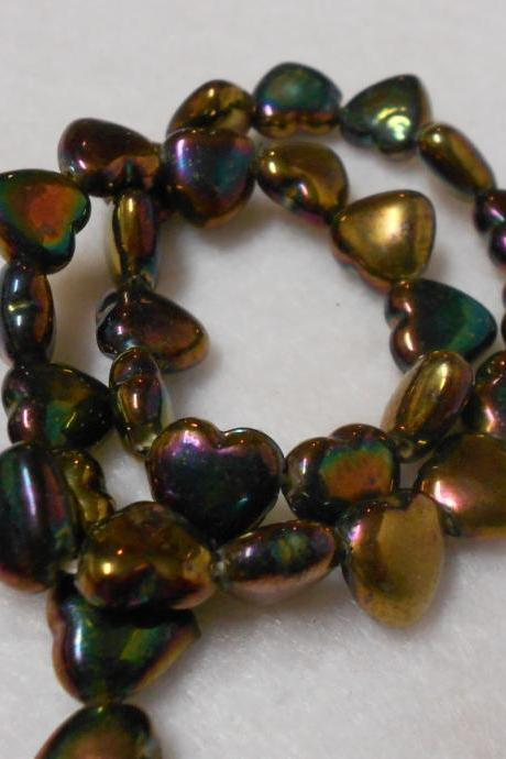 Oil Slick Finish Glass Heart Beads Valentine Heart beads