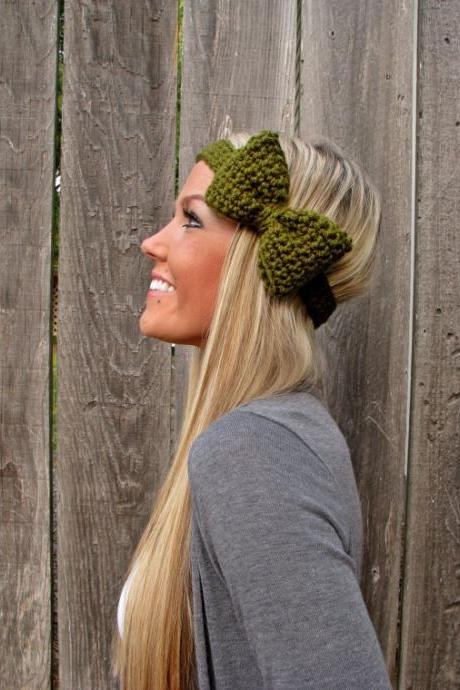Olive Green Bow Headband with Natural Vegan Coconut Shell Buttons - Adjustable