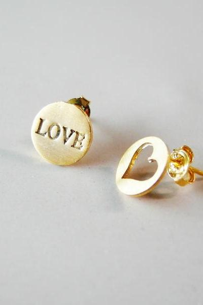 LOVE & HEART earring -silver post