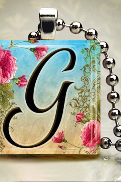 Floral Letter A to Z Alphabet Initial Inch Glass Tile Necklace