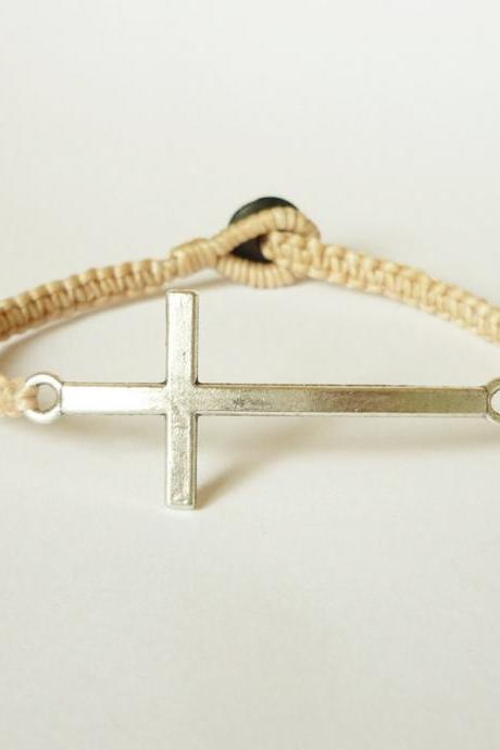 Tan Side Cross Bracelet - Simple Single Silver Side Cross woven with Tan Wax Cord Bracelet - Men Jewelry - Unisex - Gift under 15