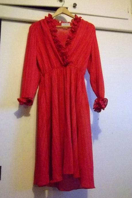 Vintage 1970s Red Low V Neck Ruffle Long Sleeve Dress