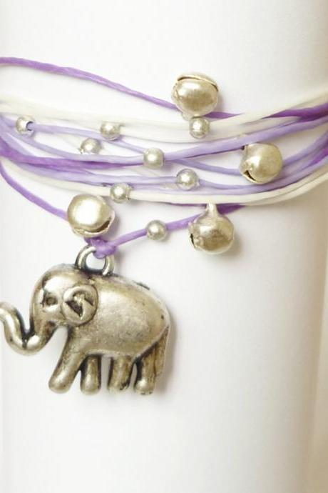 Elephant Charm Wrap Bracelet - Gift under 10 - Valentine Gift - Gift for Her