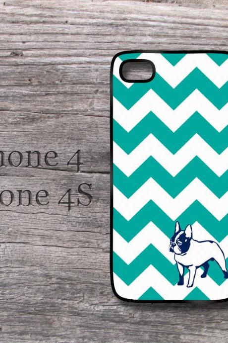 Cute iPhone teal chevron and Frenchie dog Iphone 4 and 4S case with French Bulldog