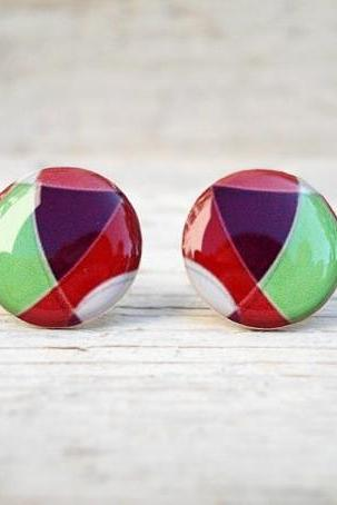 Geometric Earrings Studs Posts in Neon Green, Purple, White, Red - Orange Ear Studs