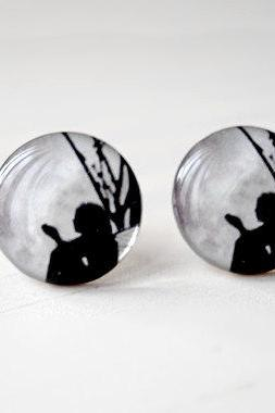 Full Moon Fairy Earrings in Black and Gray, Fairy Tale Story