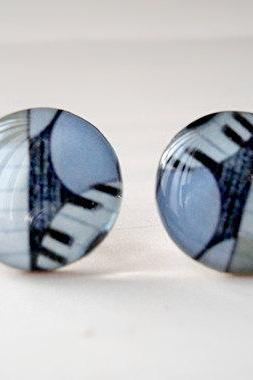 Piano Stud Earrings in Baby Blue Black White, Musical Jewelry, Music Lover