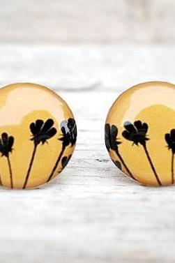 Black and Yellow Earrings, Floral Ear Studs Posts, Flower Earrings