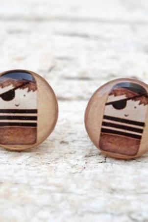 Retro Little Pirate Earrings in Brown, Small Ear Studs Posts, Nautical