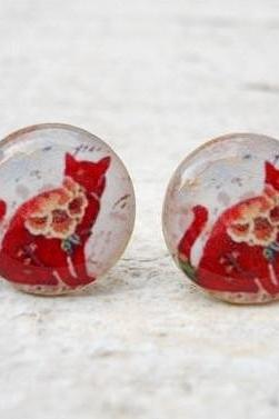 Floral Cat Ear Studs Earrings, Posts White Red ,Cat Jewelry , Neon