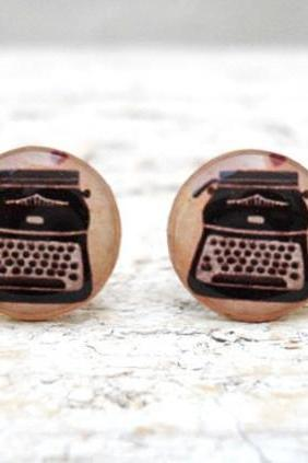 Vintage Typewriter Ear Studs Posts Beige Brown Earrings , Old Jewelry