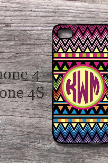 Aztec iPhone case personalized monogrammed case monogram in iphone 4 and 4S tribal cover