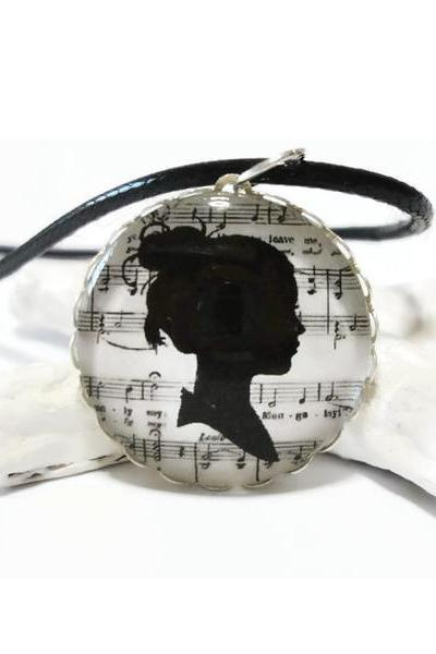 mysterious woman silhouette black shadow glass necklace