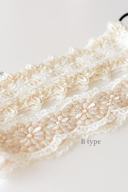 Nature Ivory cotton with gold stitched lace elastic headband,wedding,Choose one type