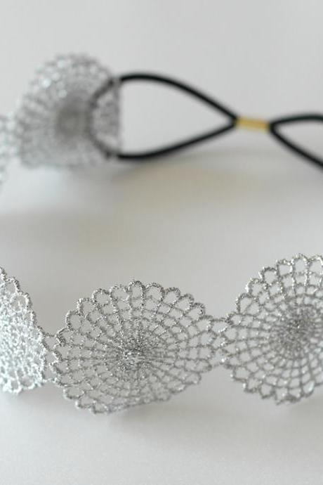Silver metallic circle lace elastic headband for bridal