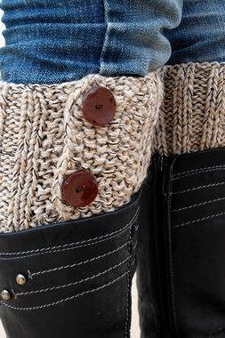 Beige Brown Boot Toppers, Beige Brown Boot Cuffs,Clasp Brown Button,Knit Boot Toppers, Knit Boot Cuffs, Accessories