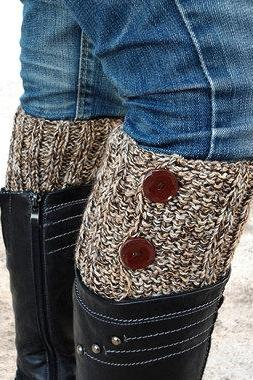 Brown Beige Boot Toppers, Brown Beige Boot Cuffs,Clasp Brown Button,Knit Boot Toppers, Knit Boot Cuffs, Accessories