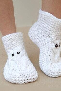 Owl Slippers,White Slippers, Knit Slippers,House Slippers,Unisex