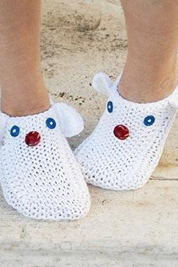 White Knit Slippers, Funny Animals Slippers, House Slippers,Unisex
