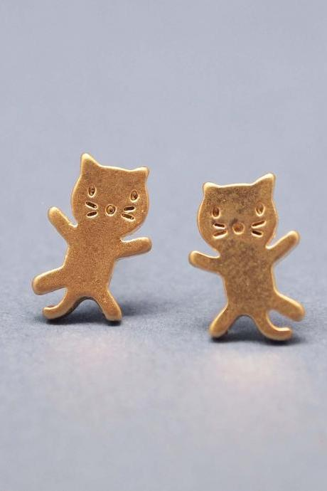 cute and unique tiny kitty cat post earrings in gold