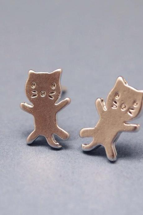 cute and unique tiny kitty cat post earrings in silver