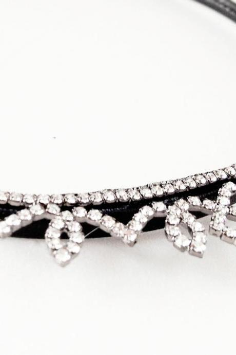 Princess Mini Crystal rhinestone Tiara faux leather wrapped headband,wedding,bridal headband
