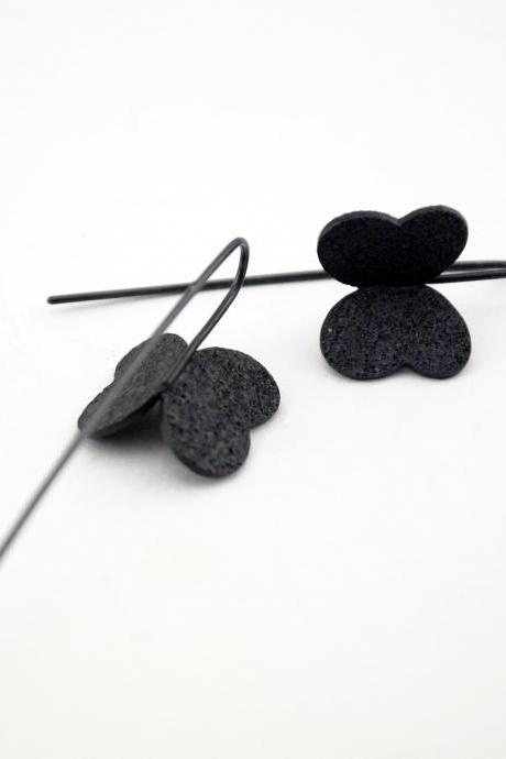 Cute Oxidized-Texturized Sterling Silver Earrings. Roll Printed Texture. Black. Dangle. VARIACIONES 8 Earrings. Handmade by Maria Goti Joyas