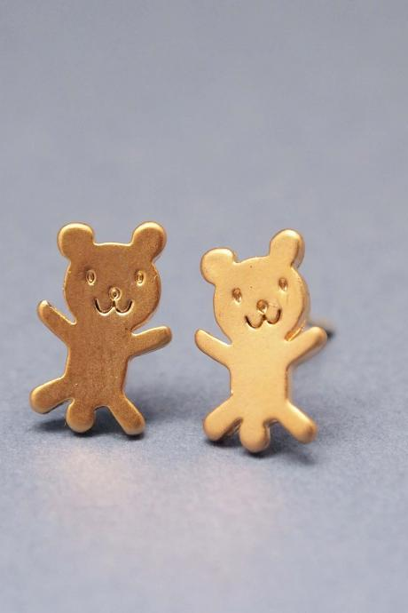 cute and tiny teddy bear post earrings in gold