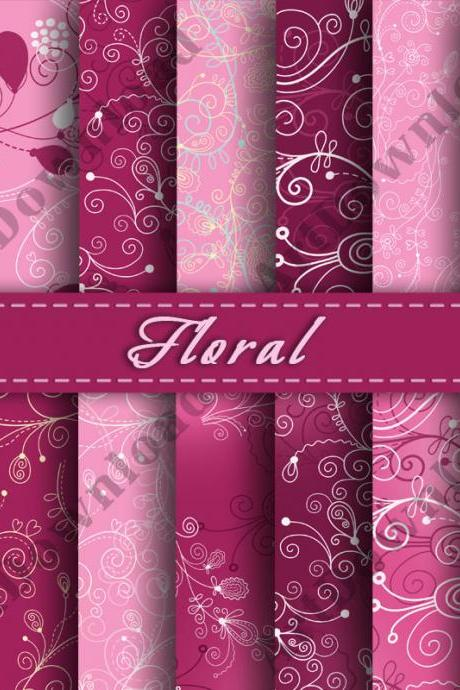 Floral Digital Paper Scrapbooking Paper Digital Scrapbooking Paper Digital Downloads
