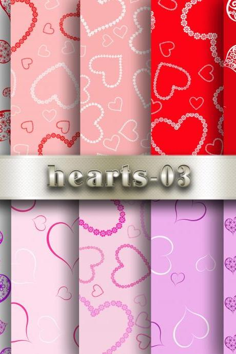 Hearts Digital Scrapbook Papers Background Valentine Love Heart Red-Pink Collection Hearts patterns