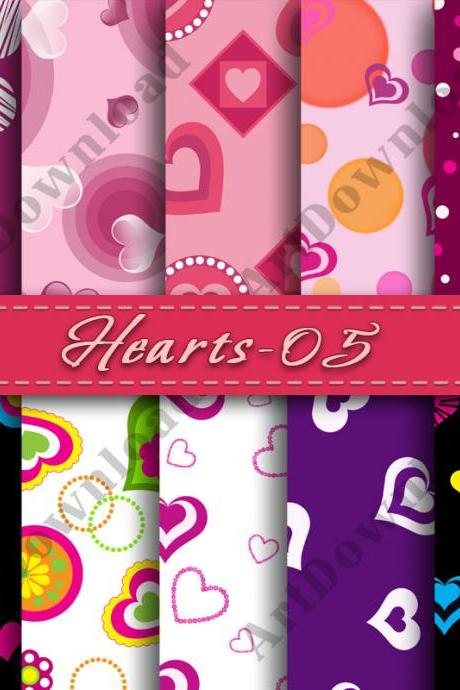 Hearts digital paper Digital Scrapbook Papers Clip Art V-Days Valentine Digital Paper Valentine Love Heart